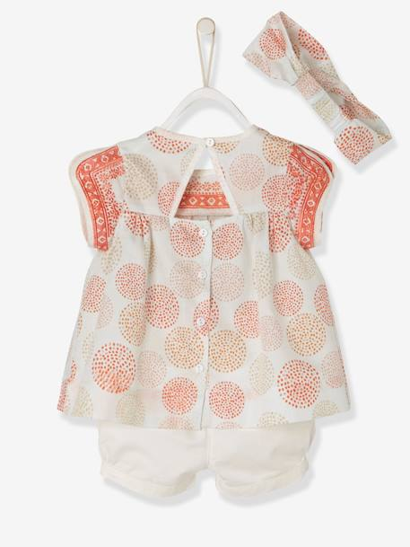 Baby Girls' Blouse + Shorts + Headband Outfit PINK LIGHT ALL OVER PRINTED