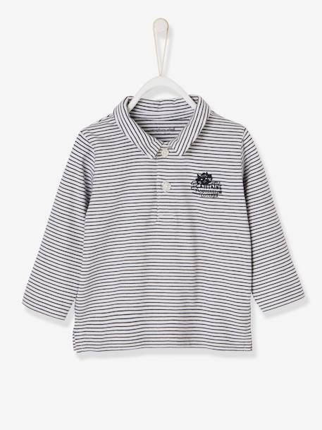 Baby Boys' Long-Sleeved Polo Shirt, Motif on the Back BLUE DARK SOLID WITH DESIGN+BLUE LIGHT STRIPED+ORANGE LIGHT SOLID WITH DESIGN
