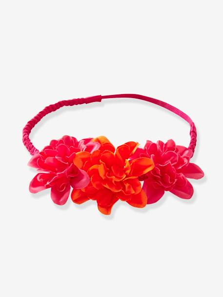 Girls' Braided Headband with 3 Flowers PINK BRIGHT SOLID WITH DESIG
