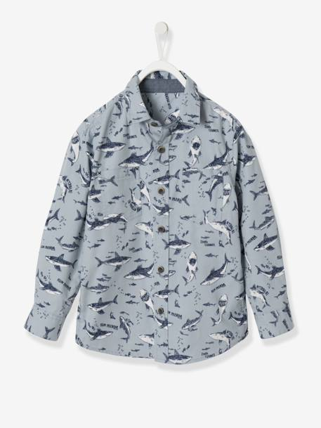 Boys' Printed Poplin Shirt BLUE LIGHT ALL OVER PRINTED+BLUE MEDIUM ALL OVER PRINTED