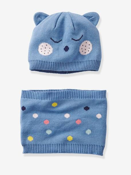 Babies' Beanie with Ears and Snood, with Polka Dots BLUE MEDIUM SOLID WITH DESIGN