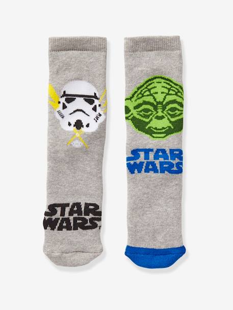 Boys' Pack of 2 Pairs of Star Wars® Socks GREY MEDIUM TWO COLOR/MULTICOL