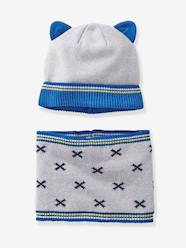 Babies' Beanie and Snood with Geometric Motif