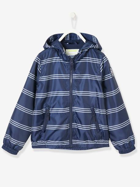 Boys' Windcheater BLUE DARK STRIPED+GREEN DARK ALL OVER PRINTED