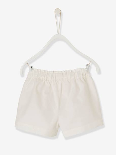 Baby Girls' Embroidered Shorts: PINK MEDIUM SOLID WITH DESIG+WHITE LIGHT SOLID WITH DESIGN