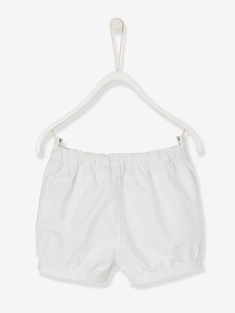 Baby Girls' Shorts with Poplin Frill WHITE LIGHT SOLID