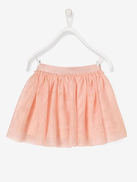Girls' Iridescent Tulle Skirt BLUE DARK SOLID+PINK LIGHT SOLID