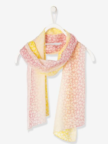 Girls' Two-Tone Square Scarf, with Print PINK MEDIUM ALL OVER PRINTED