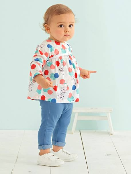 Baby Girls' Printed Blouse WHITE LIGHT ALL OVER PRINTED+WHITE MEDIUM ALL OVER PRINTED