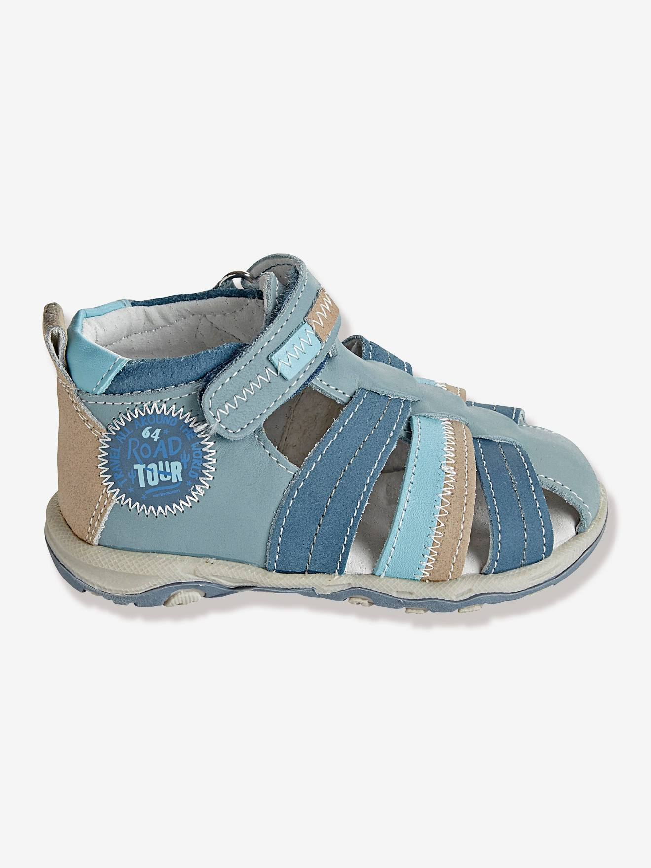 Boys Leather Sandals With Touch N Close Fastening Shoes