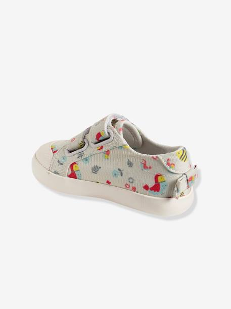 Girls Printed Canvas Trainers With Touch N Close Fastening BEIGE LIGHT METALISED+Printed chambray+WHITE LIGHT ALL OVER PRINTED