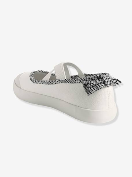 Girls' Ballerina Shoes, in Fabric BLUE MEDIUM SOLID+GREY LIGHT METALLIZED+WHITE LIGHT SOLID WITH DESIGN