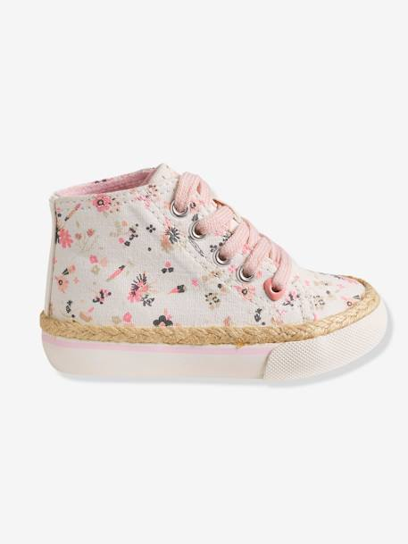 Girls Canvas High-Top Trainers BLUE MEDIUM SOLID WITH DESIGN+Printed white