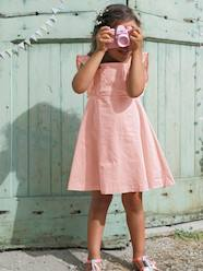 Girls' Sateen Dress with Embroidery