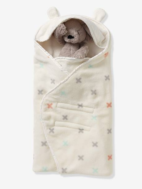 VERTBAUDET Hooded Blanket GREY LIGHT ALL OVER PRINTED+WHITE LIGHT ALL OVER PRINTED