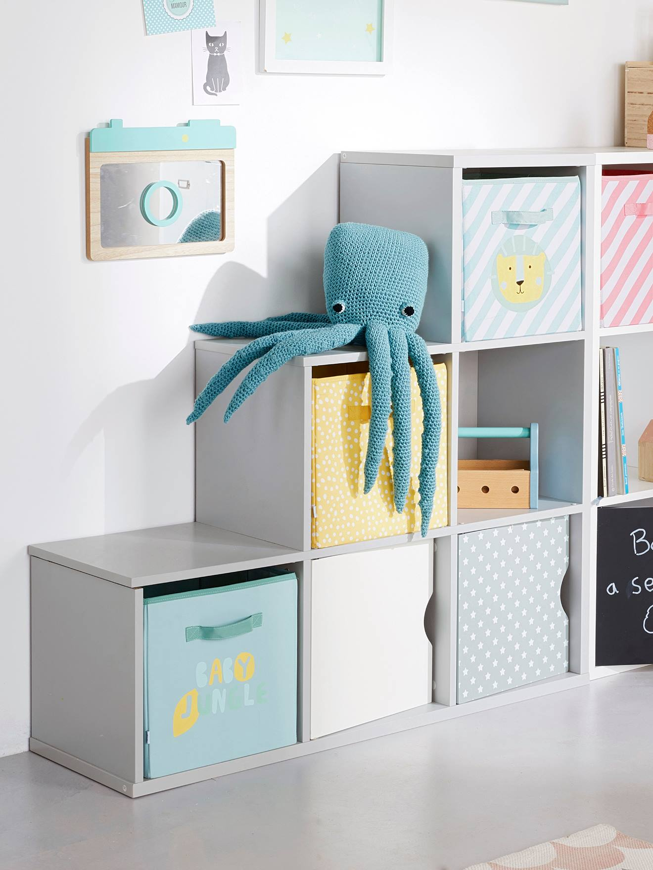 Door for Storage Boxes Chalkboard+Grey / stars+Pink / stars+White+ & Door for Storage Boxes - grey/star Storage u0026 Decoration | Vertbaudet