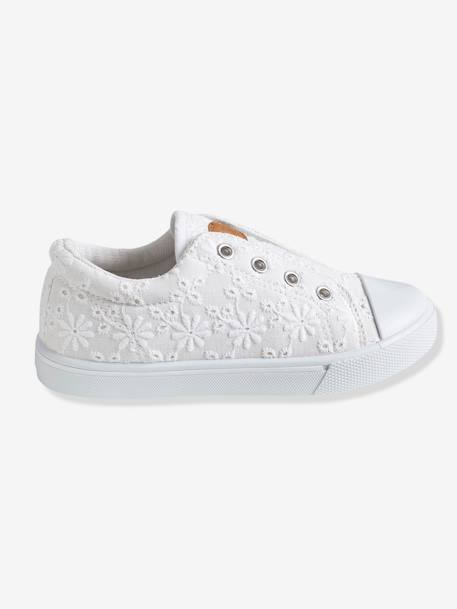 Girls Canvas Trainers Polka dot denim+Printed ecru+WHITE LIGHT SOLID WITH DESIGN