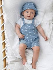 Baby Boys' Denim Outfit: Bodysuit, Dungarees & Hat