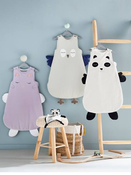 Sleeveless Baby Sleep Bag, My Panda Friend Theme WHITE LIGHT SOLID WITH DESIGN