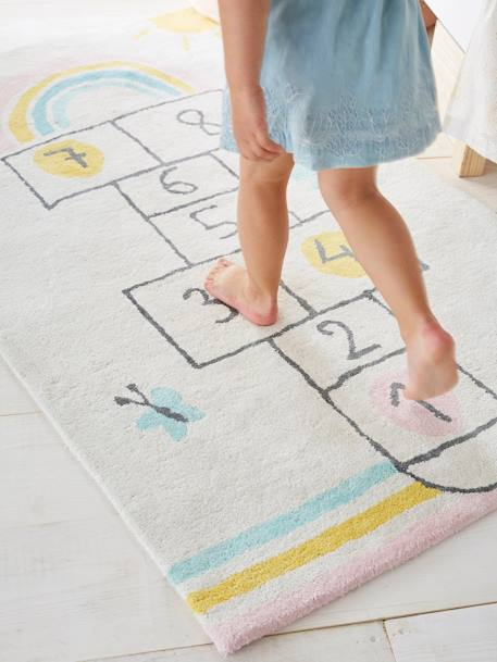 Rug, Hopscotch WHITE LIGHT SOLID WITH DESIGN