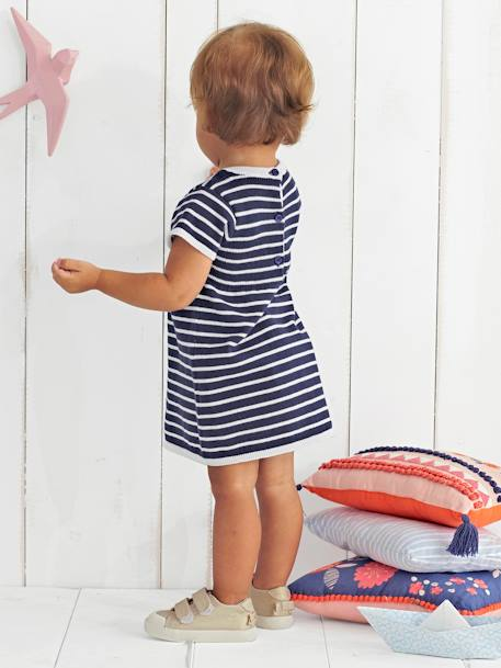 Baby Girls' Knitted Dress BLUE DARK STRIPED+PINK DARK ALL OVER PRINTED