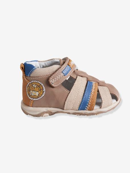 Boys Leather Sandals With Touch N Close Fastening BEIGE DARK SOLID WITH DESIGN+Blue / multi