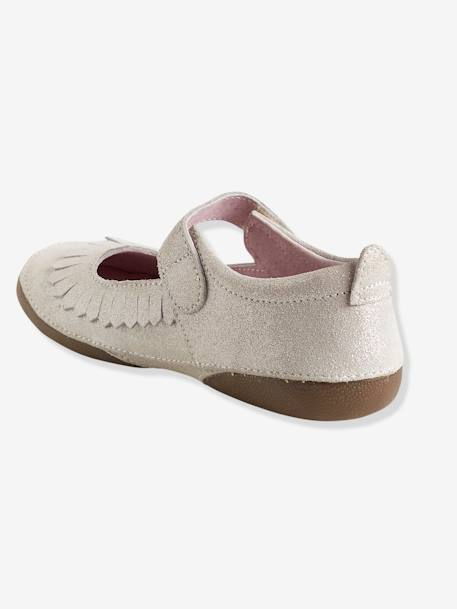 Girls' Leather Ballerina Shoes BEIGE LIGHT METALISED