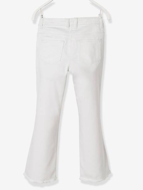 Girls' Embroidered Bootcut Trousers WHITE LIGHT SOLID WITH DESIGN