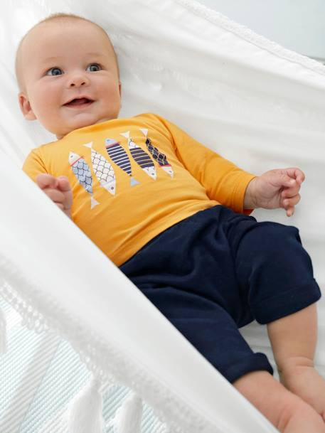 Babies' Harem-Style Fleece Trousers BLUE DARK SOLID+GREY LIGHT MIXED COLOR+WHITE LIGHT ALL OVER PRINTED