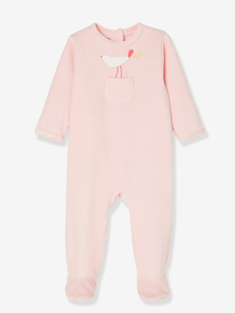 Babies' Pack of 2 Velour Pyjamas, Press-studs on the Back PINK MEDIUM 2 COLOR/MULTICOL