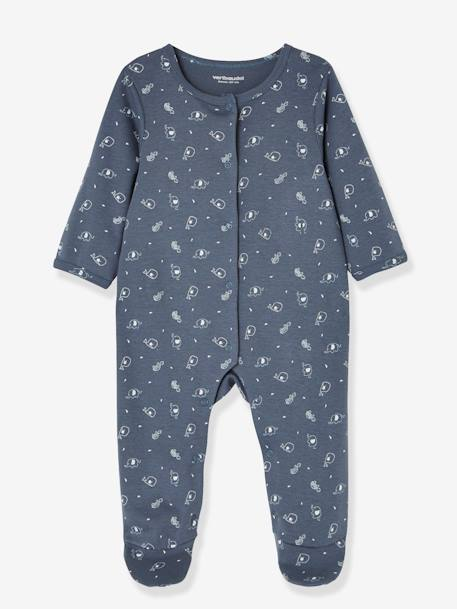 Babies' 2 Sets of Pyjamas, in Printed Cotton, Press Studs on the Front BLUE DARK TWO COLOR/MULTICOL