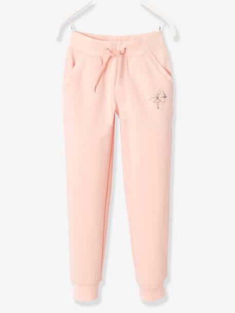 Girls' Fleece Trousers GREY LIGHT MIXED COLOR+PINK LIGHT SOLID WITH DESIGN