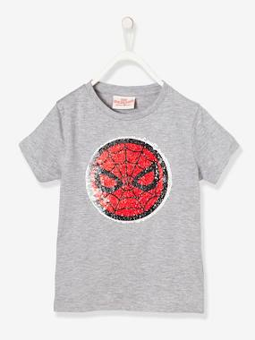 Boys' Spiderman® T-Shirt with Reversible Sequins grey medium solid with design