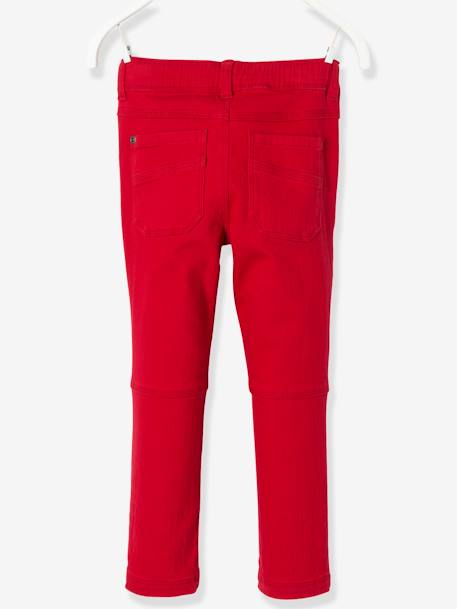 LARGE Fit, Boys' Slim Fit Trousers GREY DARK SOLID+RED DARK SOLID