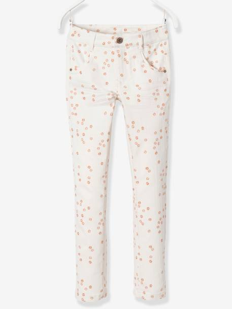 LARGE Fit, Girls' Slim Fit Trousers PINK LIGHT SOLID+PURPLE DARK SOLID+WHITE LIGHT ALL OVER PRINTED+YELLOW LIGHT SOLID