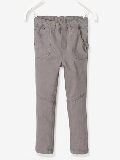 NARROW Fit - Boys' Slim Fit Trousers GREY DARK SOLID+RED DARK SOLID
