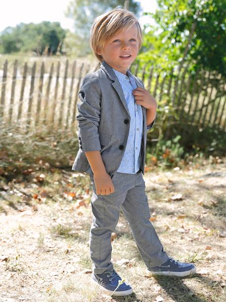 Boys' Chinos, in Cotton and Stretch Linen BLUE DARK SOLID+GREY MEDIUM SOLID+WHITE LIGHT SOLID