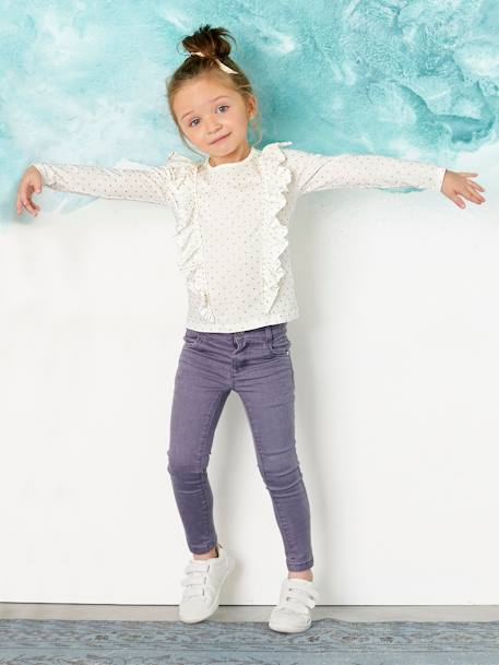Girls' Top with Frills WHITE LIGHT ALL OVER PRINTED