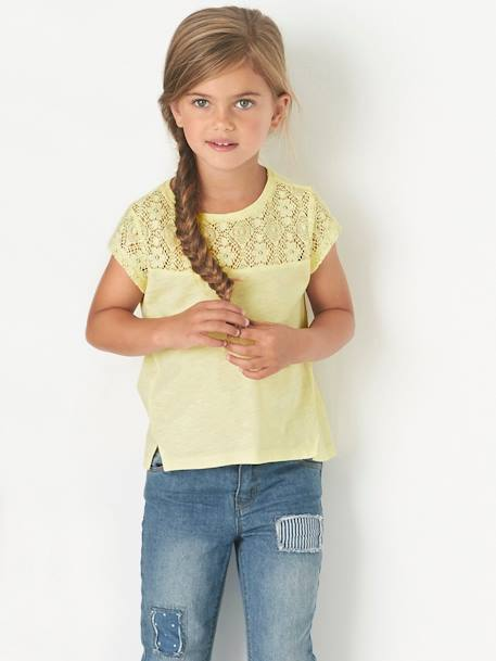 Girls Short-Sleeved Lace T-Shirt Ecru+PINK LIGHT SOLID WITH DESIGN+PURPLE MEDIUM SOLID WITH DESIG+YELLOW LIGHT SOLID WITH DESIGN