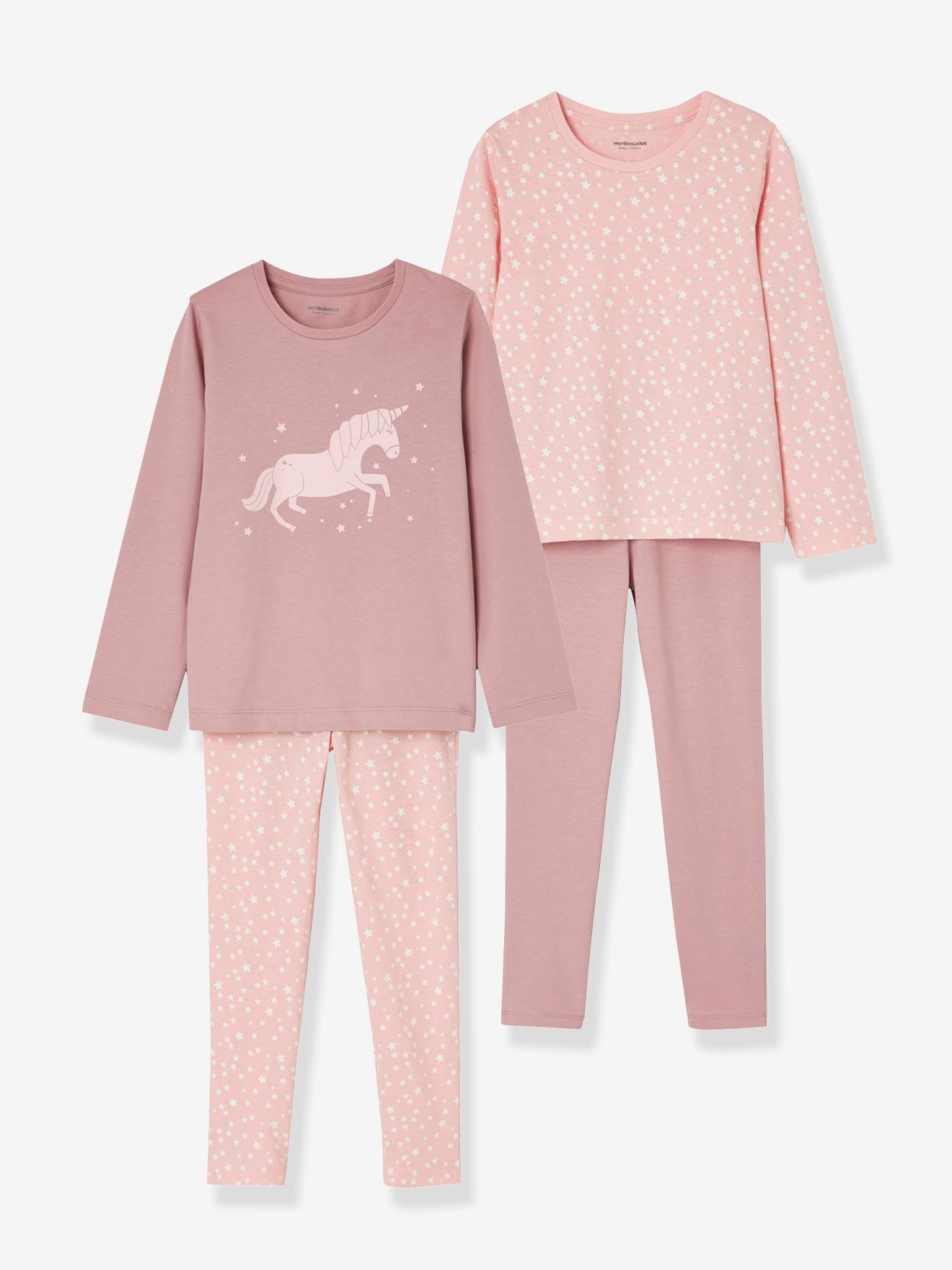 Girls  Pack of 2 Mix   Match Pyjamas - pink dark 2 color multicol or ... c7cd6a89f37a3
