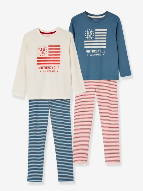Boys' Pack of 2 Mix & Match Pyjamas BLUE BRIGHT 2 COLOR/MULTICOL