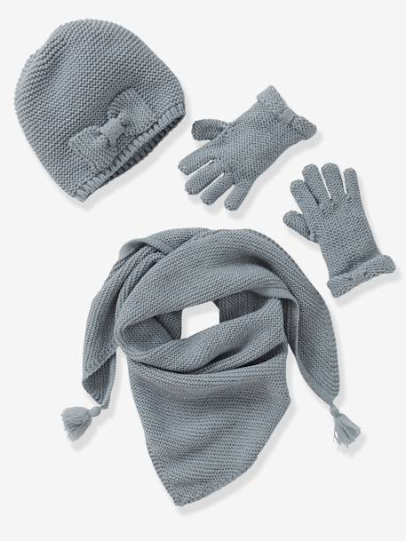Girls' Hat, Scarf& Mittens or Gloves Set Cream+Grey