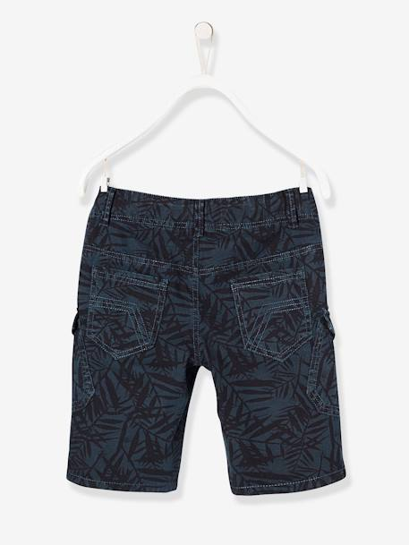 Boys' Military Style Bermuda Shorts BLUE DARK ALL OVER PRINTED+BROWN MEDIUM SOLID+GREEN LIGHT SOLID+RED MEDIUM SOLID