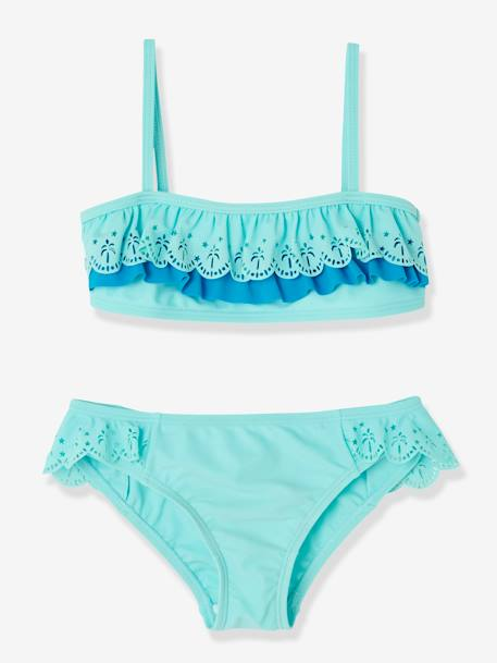 Girls' Bikini BLUE LIGHT SOLID+PINK BRIGHT ALL OVER PRINTED