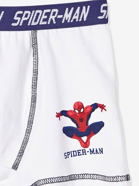 Boys' Pack of 2 Boxer Shorts, Spiderman® WHITE LIGHT SOLID WITH DESIGN