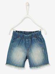 Baby-Shorts-Baby Boys' Denim Bermuda Shorts with Fringes