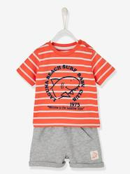 Baby-Outfits-Baby Boys' Striped Top & Shorts Outfit, Shark Motif