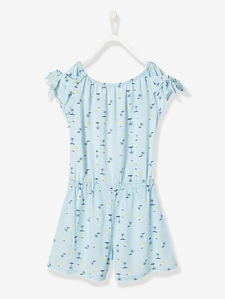 Girls' Playsuit with Palm Tree Print BLUE LIGHT ALL OVER PRINTED