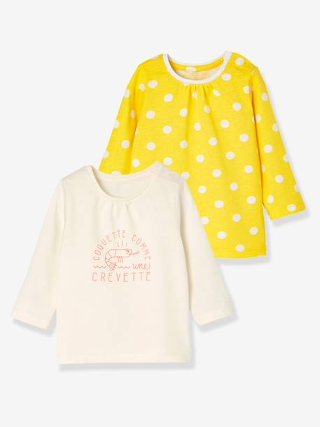 Baby Girls' Pack of 2 Long-Sleeved T-Shirts GREEN LIGHT 2 COLOR/MULTICOLOR+ORANGE BRIGHT 2 COLOR/MULTICOL+YELLOW MEDIUM 2 COLOR/MULTICOL