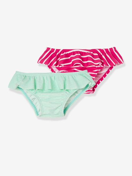 Baby Girls' Pack of 2 Bikini Bottoms with Frills GREEN LIGHT 2 COLOR/MULTICOLOR